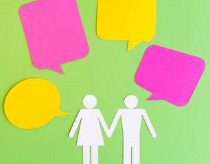 Paper Cut Symbols - Couple with Bubble Speech
