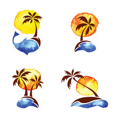 Set of watercolor illustration - palm trees