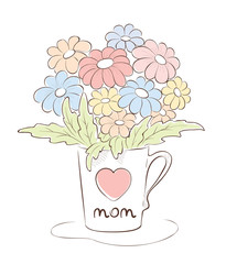 Illustration -- Bouquet for Mom