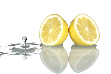Lemon with water drop