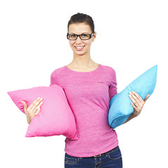 Young women with pillows