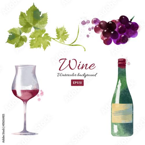 Watercolor vector wine background set - 81636483