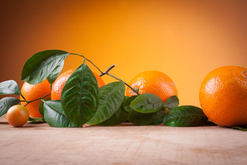 Oranges with shoots on a wooden table