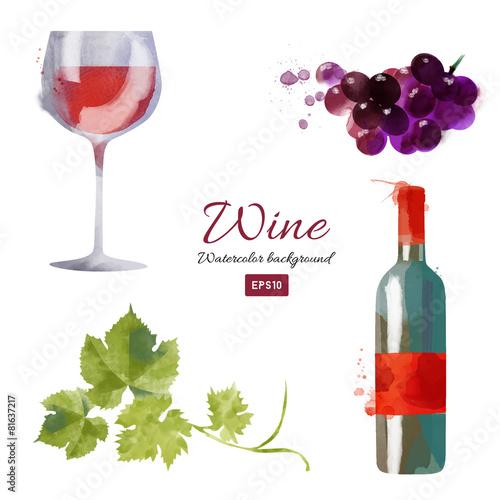 Watercolor vector wine background set - 81637217