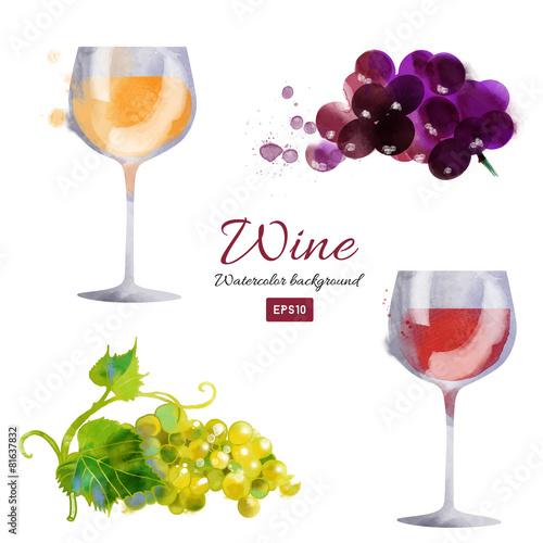 Watercolor vector wine background set - 81637832