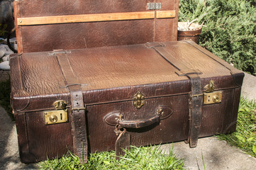 Old closet locked retro vintage leather suitcases