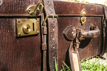 Old retro leather suitcase detail closeup