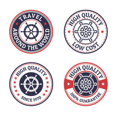 Set of vintage style sea and summer nautical signs, badges and l