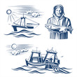 Fishing industry design elements. Vector set. - 81638289