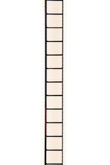 35 mm empty vertical movie filmstrip isolated white background