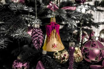 Weihnachtsschmuck rot-gold pink pastell