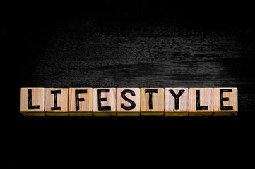 Word LIFESTYLE  isolated on black background
