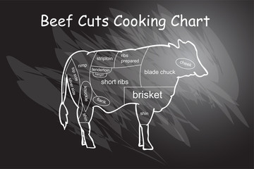 vector Beef Cut Cooking Chart