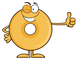 Winking Donut Cartoon Character Giving A Thumb Up