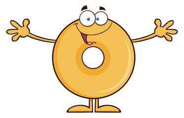 Funny Donut Cartoon Character Wanting A Hug