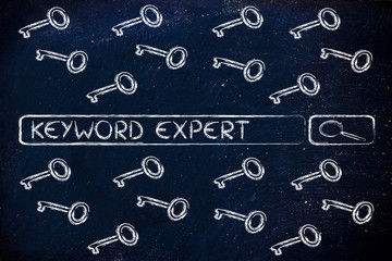 search engine bar with tags about Keyword experts, surrounded by