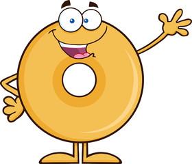 Funny Donut Cartoon Character Waving