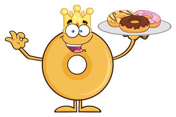 King Donut Cartoon Character Serving Donuts