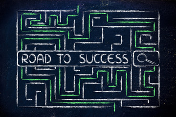 maze with search tags about the road to success