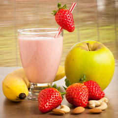 Strawberry smoothie refreshing fruit meal - healthy vegetarian f