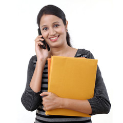 Female student talking on cellphone