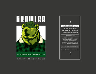 beer label green bear