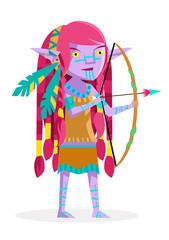 un elfo salvaje con su arco y flecha cazando