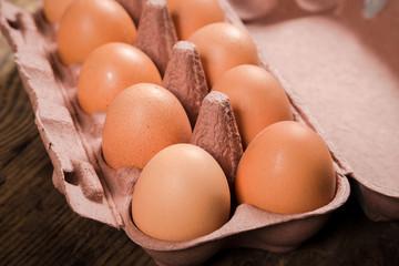 Chicken eggs in carton tray