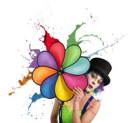 Clown with rainbow helix