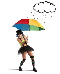Clowns with rainbow umbrella