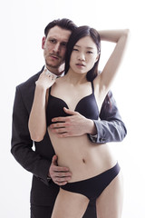 Chinese model and businessman portrait