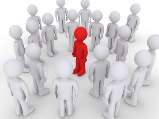 Different person in a crowd of others
