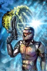 Shock trooper and spaceship battle