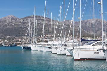 Yachts in marina, Montenegro, Adriatic Sea
