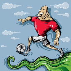 Fast Strong Soccer Player Running (Vector Art)