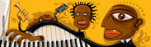 Abstract Jazz Band, Sax, Piano (Vector Art) - 81641666