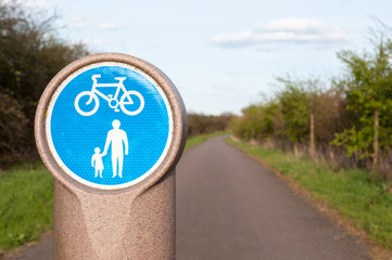Pedestrian and bicycle shared lane sign.