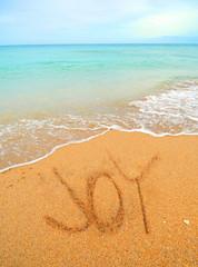 joy written in the sand