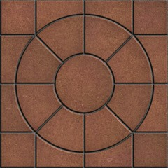 Brown Pavement  Slabs in the Form on Circle.