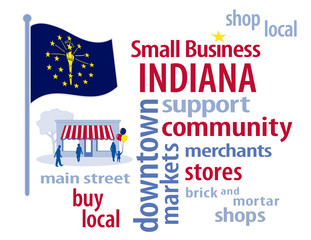 Indiana Flag, shop small business stores, Main Street, word art