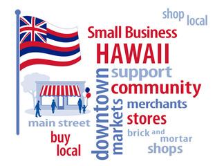 Hawaii Flag, shop small business stores, Main Street, word art