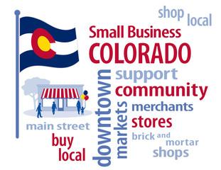 Colorado Flag, shop small business stores, Main Street, word art
