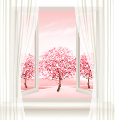 Spring background with an open window and blossoming pink sakura