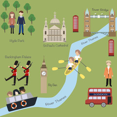London map in cartoon style