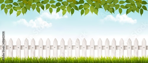 Long white fence banner with grass and fence. Vector. - 81642808