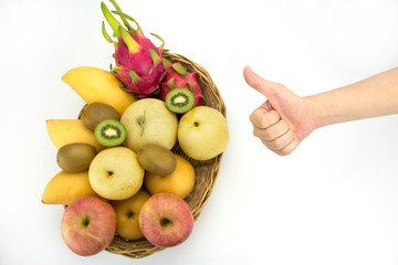 Healthy eating concept,Hand with thumb up, focus on hand