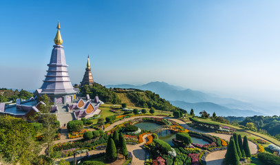 Doi Inthanon,Chiang Mai, Thailand.On the bright blue