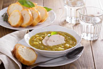 Hearty chicken split pea soup