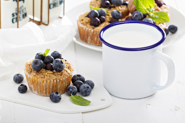 Baked oatmeal muffins with blueberry