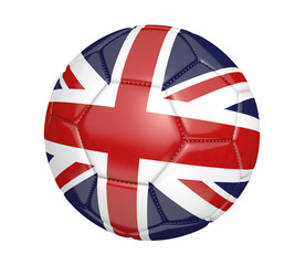 Soccer ball, or football, with the flag of United Kingdom